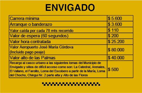 Tarifa Taxi Envigado