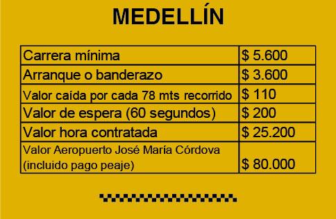 Tarifa Medellín